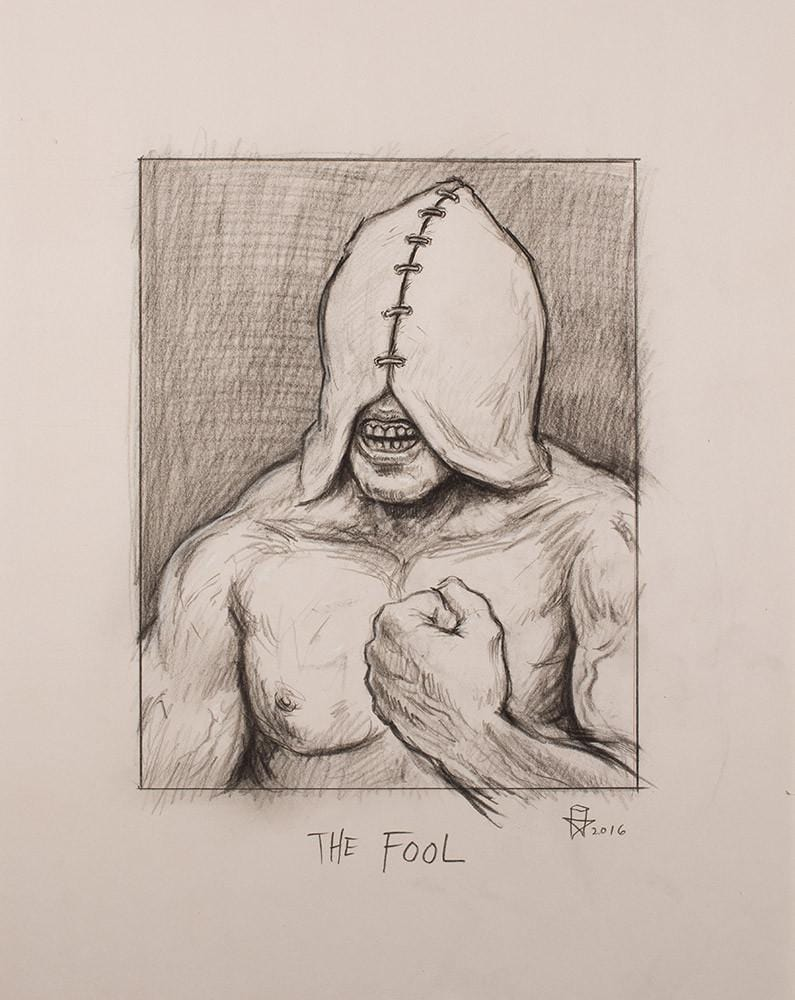 "Christopher Ulrich - ""The Fool pencil sketch"" - graphite & charcoal on paper - 45.7 x 61.6cm (18""x24"")"
