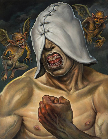 "Christopher Ulrich - ""The Fool"" - oil on board - 27.9 x 35.6cm (11""x14"")"