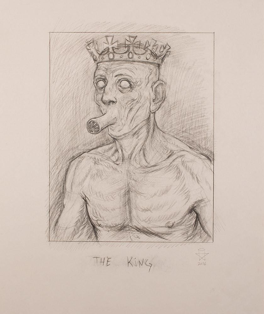 "Christopher Ulrich - ""The King pencil sketch 2"" - graphite & charcoal on paper - 45.7 x 61.6cm (18""x24"")"