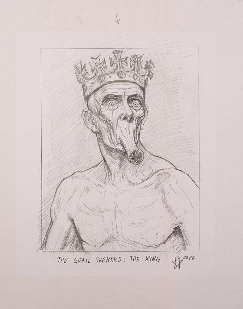 "Christopher Ulrich - ""The King pencil sketch"" - graphite & charcoal on paper - 45.7 x 61.6cm (18""x24"")"