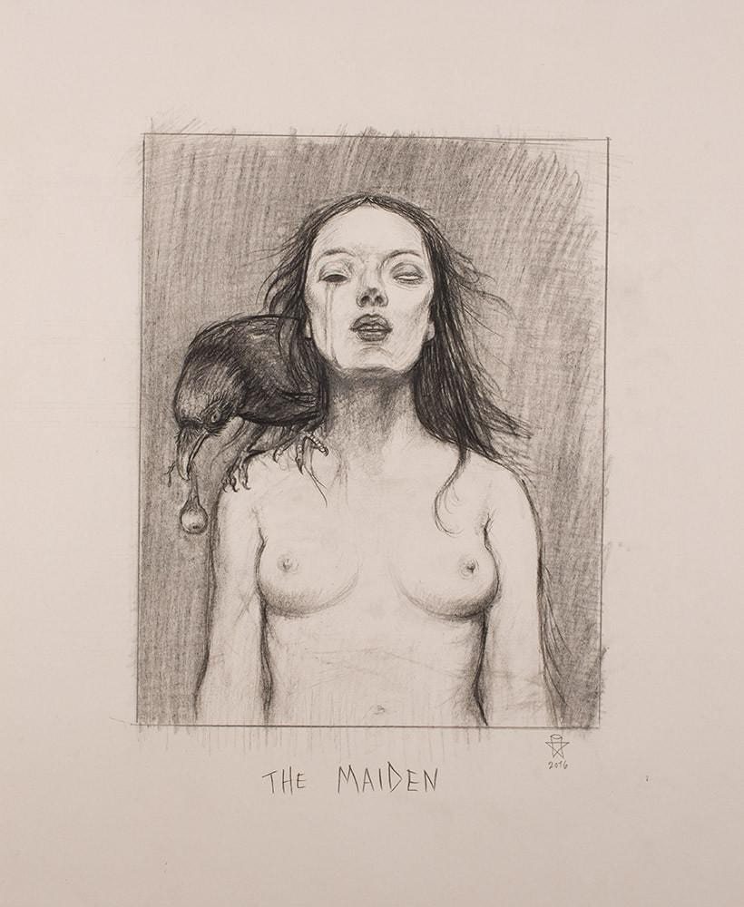 "Christopher Ulrich - ""The Maiden pencil sketch"" - graphite on paper - 45.7 x 61.6cm (18""x24"")"