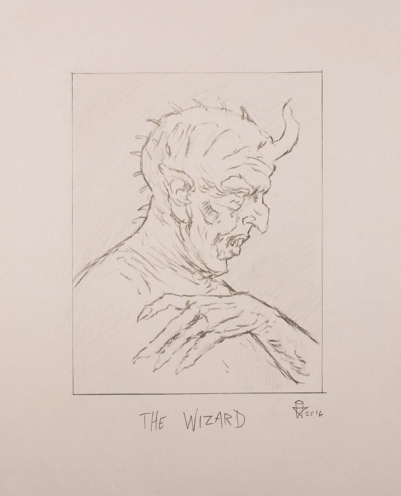 "Christopher Ulrich - ""The Wizard pencil sketch"" - graphite & charcoal on paper - 45.7 x 61.6cm (18""x24"")"