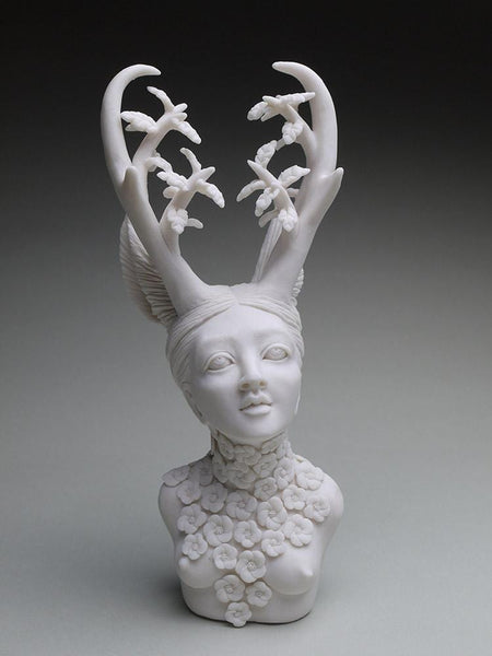 "Crystal Morey - 'Lush Anthesis: California Pronghorn with Oak' - hand sculpted porcelain - 21.6 x 10.1 x 7.6cm (8.5""x4""x3"")"