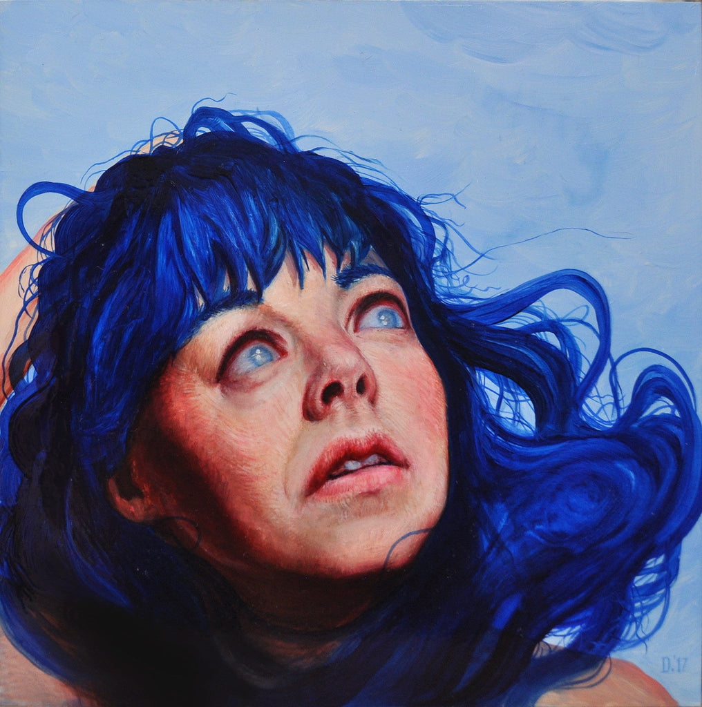 "Dorielle Caimi - ""She Was Always Startled When They banged on the Glass"" - oil on cradled panel - 20.3 x 20.3cm (8""x8"")"