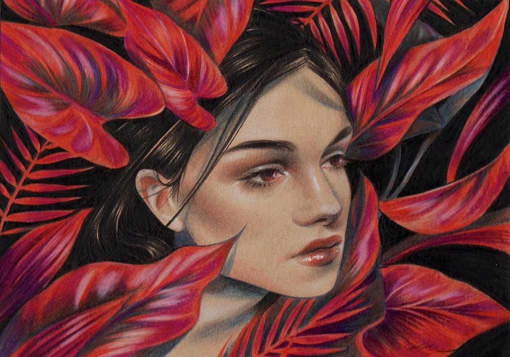 "Eevien Tan - 'Amaranth' - colour pencil on toned paper - 12.7 x 17.8cm (5""x7"")"
