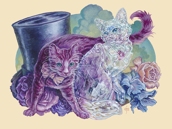 "Erich J. Moffitt - ""The Curious Kittens of OZ"" - acrylic on panel - 30.5 x 22.9cm (12""x9"")"
