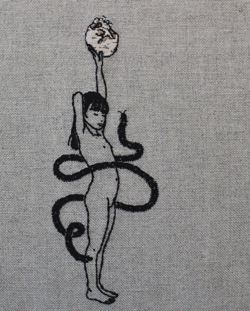 "Adipocere - 'Eve' - hand embroidery on natural linen, cotton thread - 18.5 x 22cm (7.2""x8.6"")"