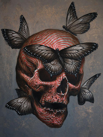 "Fergus Dupleix - ""Skull with Red 4"" - oil on canvas - 35 x 45cm (13.8""x17.7"")"