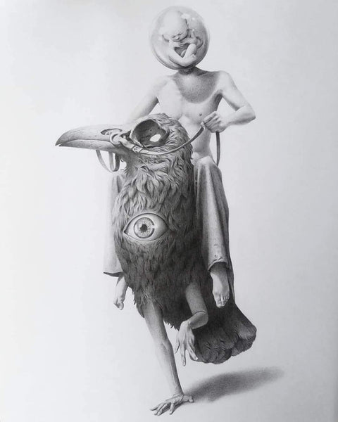 "Garis Edelweiss - ""Penuggang Mati"" - pencil on paper - 29.7 x 42cm (11.6""x16.5"")"