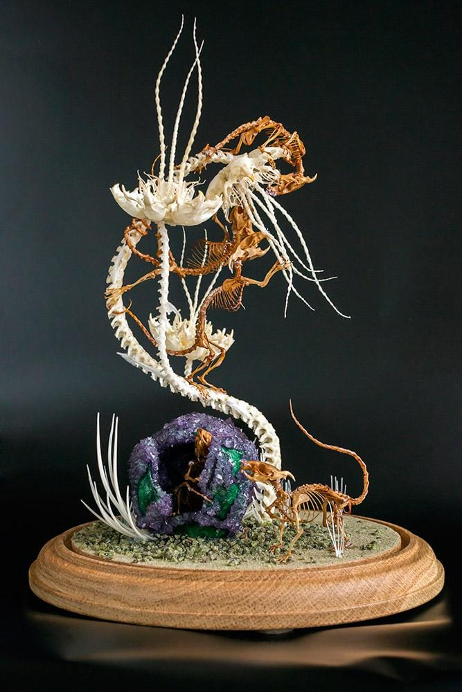 "Gerard Geer - ""Pollination"" - crystallised vervet monkey skull, assorted animal bones & mixed media under glass dome - 20 x 20 x 32cm (7.8""x7.8""x12.5"")"