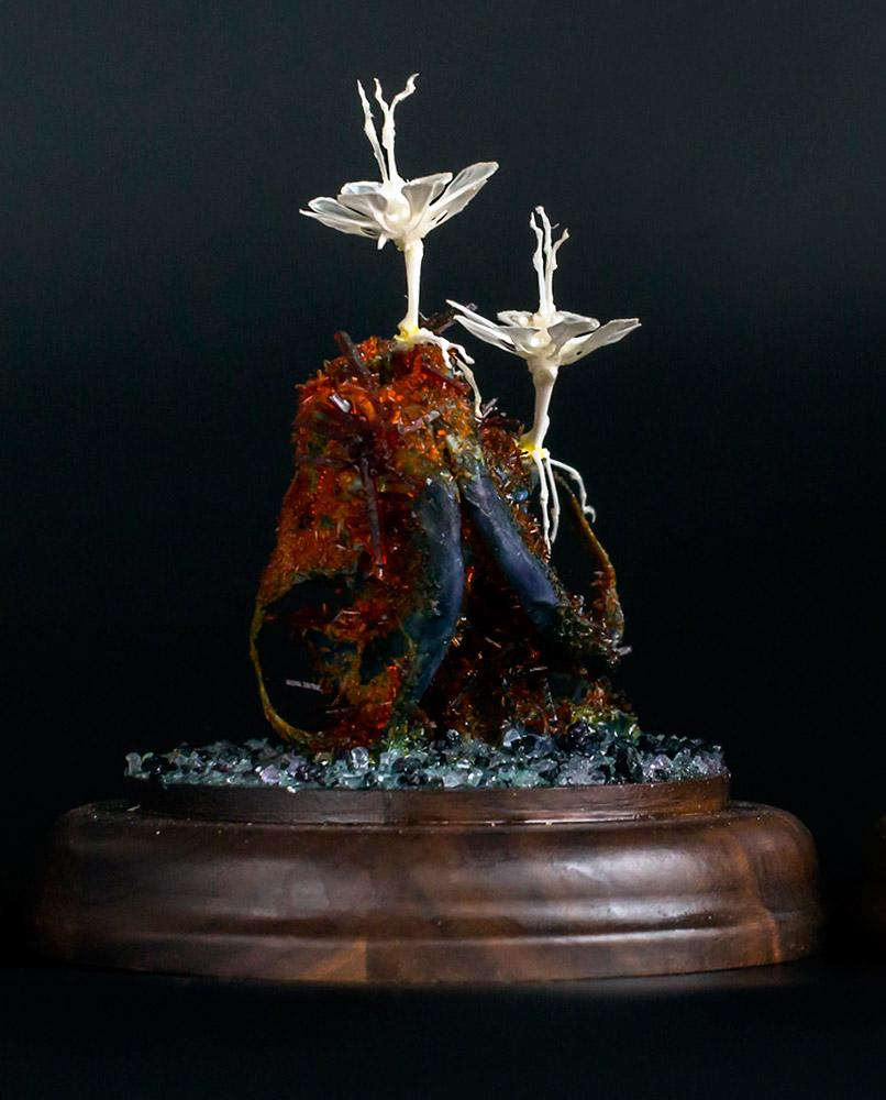 "Gerard Geer - ""Forest Series 5"" - crystallised mink skull & assorted animal bones under glass dome- 10 x 10 x 13cm (4""x4""x5"")"