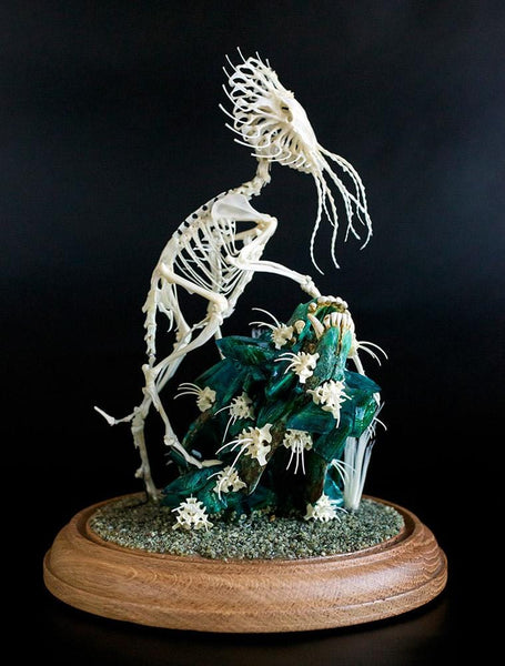 "Gerard Geer - ""Sentry Scout"" - assorted animal bones and mixed media - 17 x 28cm (6.6""x11"")"