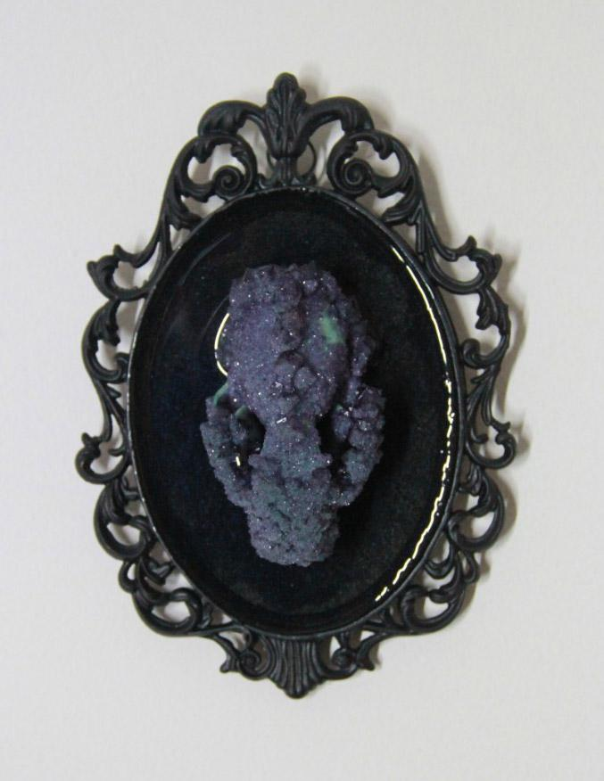 "Gerard Geer - 'Mink Amethyst' - crystallised mink skull set on resin - 18 x 12cm (8""x4.7"")"