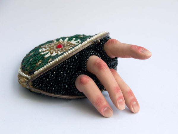 "Gigi Gordes - ""Argead Star"" - polymer clay, pearls, glass beads, pastel, acrylic, 1920's clutch"