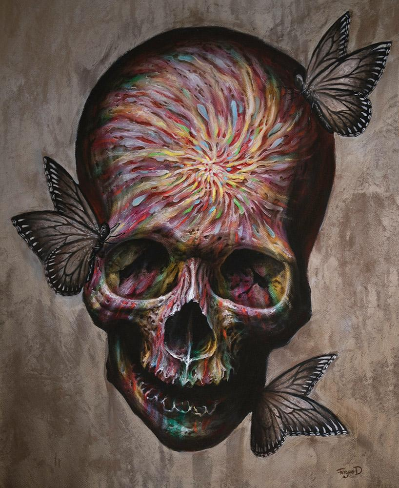"Fergus Dupleix - ""Hypercolour Skull"" - oil on canvas - 41 x 51cm (16.1""x20.1"")"