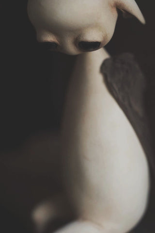 "Mahlimae - ""Echo II"" - stone clay, glass, merino wool & taxidermied finch wings - 15 cm (5.9"")"