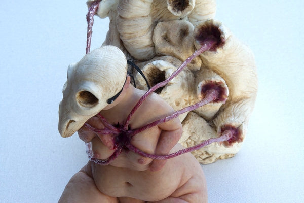 "Isabel Peppard - ""Cherub 2: The Ordeal"" - silicone, wire, resin & artists own hair - 35 x 12 x 17cm (13.8""x4.7""x6.7"")"