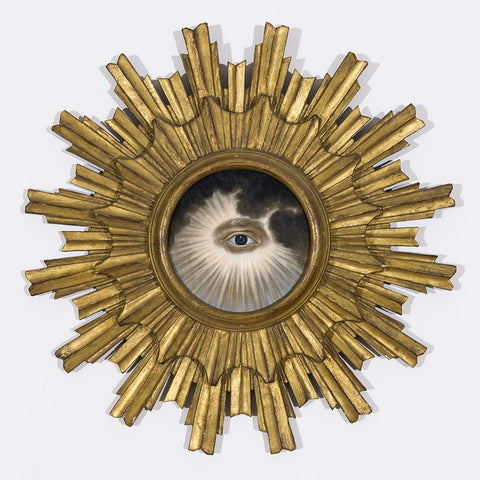 "Jean Labourdette (Turf One) - ""As Above So Below"" - oil on panel, antique sunburst frame - 45.7 x 45.7cm (18""x18"")"