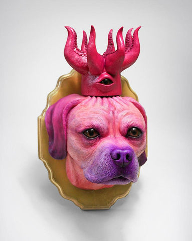 "Jim McKenzie - ""King Gordo Pink Bust"" - Resin casted head, Epoxy Clay, Acrylic Paint & Wooden Plaque - 22.9 x 38.1 x 25.4cm (9""x15""x10"")"