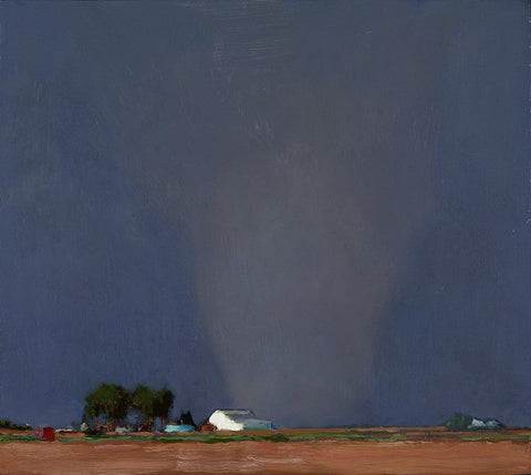 "John Brosio - Tornado Study - oil on board - 20.3 x 20.3cm (8""x8"")"