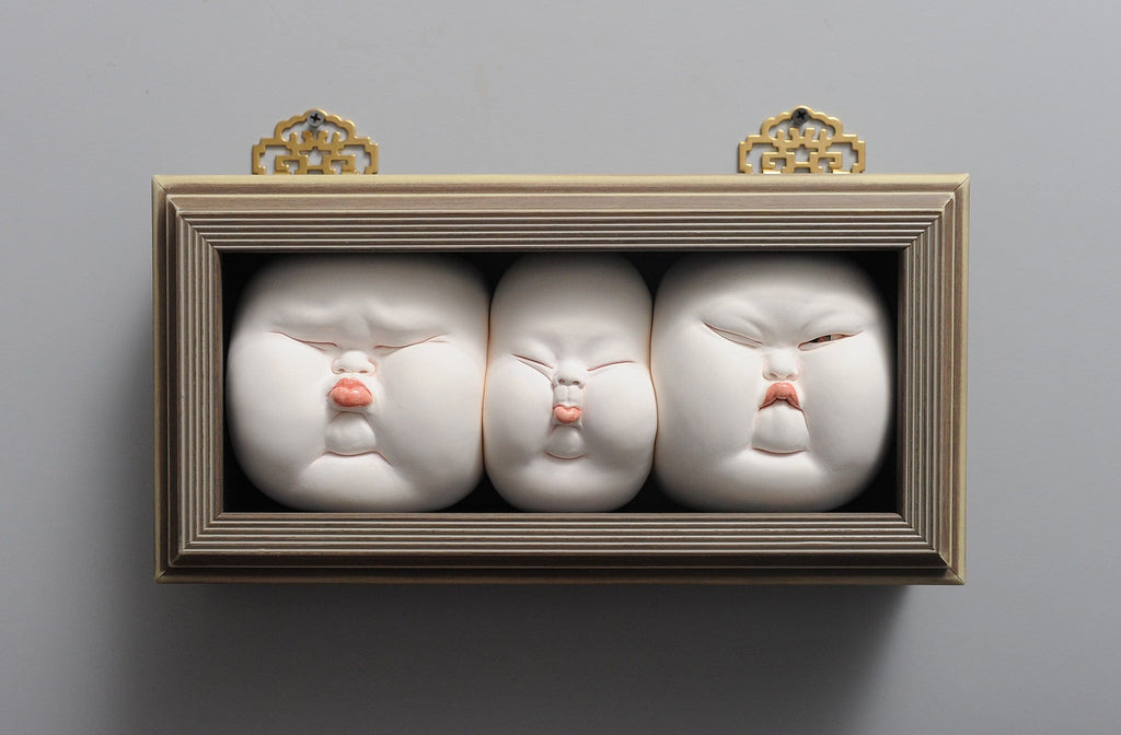 "Johnson Tsang - ""Love in the Box"" - porcelain and wooden frame - 27 x 21 x 12cm (10.6""x8.2""x4.7"")"