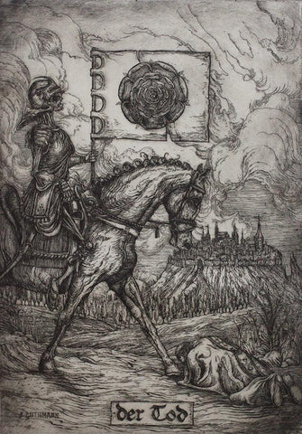 "Jonathan Guthmann - ""Der Tod (Death Tarot Card)"" - etching and engraving on Hahnemühle paper - Edition of 7 - 27 x 38cm (10.6""x15"")"