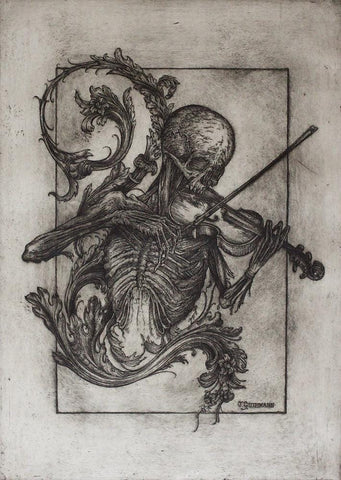 "Jonathan Guthmann - ""Death with a Violin and Acanthus Motif II"" - etching and engraving on Hahnemühle paper - Edition of 7 - 38 x 53cm (15""x20.9"")"