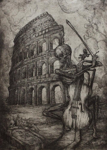 "Jonathan Guthmann - ""Dum Vivimus Vivamus (While we live, let us live)"" - etching and engraving on Hahnemühle paper - Edition of 7 - 38 x 53cm (15""x20.9"")"