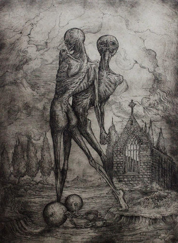 "Jonathan Guthmann - ""Totentanz III (Dance macabre III)"" - etching and engraving on Hahnemühle paper - Edition of 7 - 43.5 x 59cm (17.1""x23.2"")"