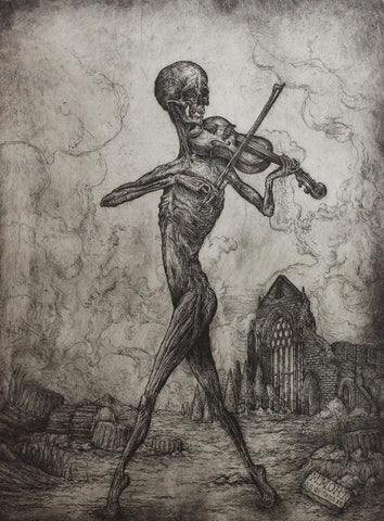 "Jonathan Guthmann - ""Memento Mori: Death Playing the Violin"" - etching and engraving on Hahnemühle paper - Edition of 7 - 45 x 59cm (17.7""x23.2"")"