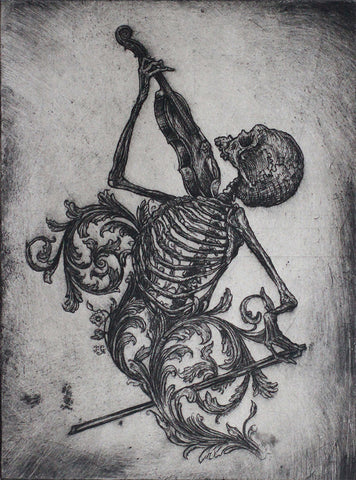 "Jonathan Guthmann - ""Death playing the Violin"" - Etching on Hahnemühle paper. Edition of 3. Size: 27 X 39cm (10.6""x15.4"")"