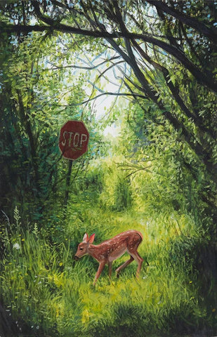 "Josh Keyes - ""Vestige"" - acrylic on cradled wood panel - 10.2 x 15.2cm (4""x6"")"