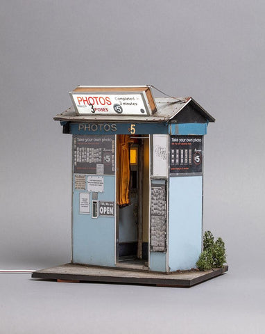 "Joshua Smith - ""Chapel Street Photobooth""- Cardboard, MDF, Wire, Styrene, Plastic, Vinyl, Wood, Acrylic paint, weathering pigments and working LED's - 28.5 x 24 x 21cm (11.2""x9.4""x8.3"")"