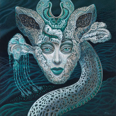 "Kim Evans - ""Emerald"" - acrylic on panel - 20.3 x 20.3cm (8""x8"")"