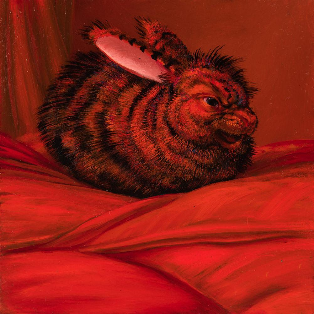 "Laurie Hogin - ""Affective Spectrum Disorder Bunny Red"" - oil on board - 10.2 x 10.2cm (4""x4"")"