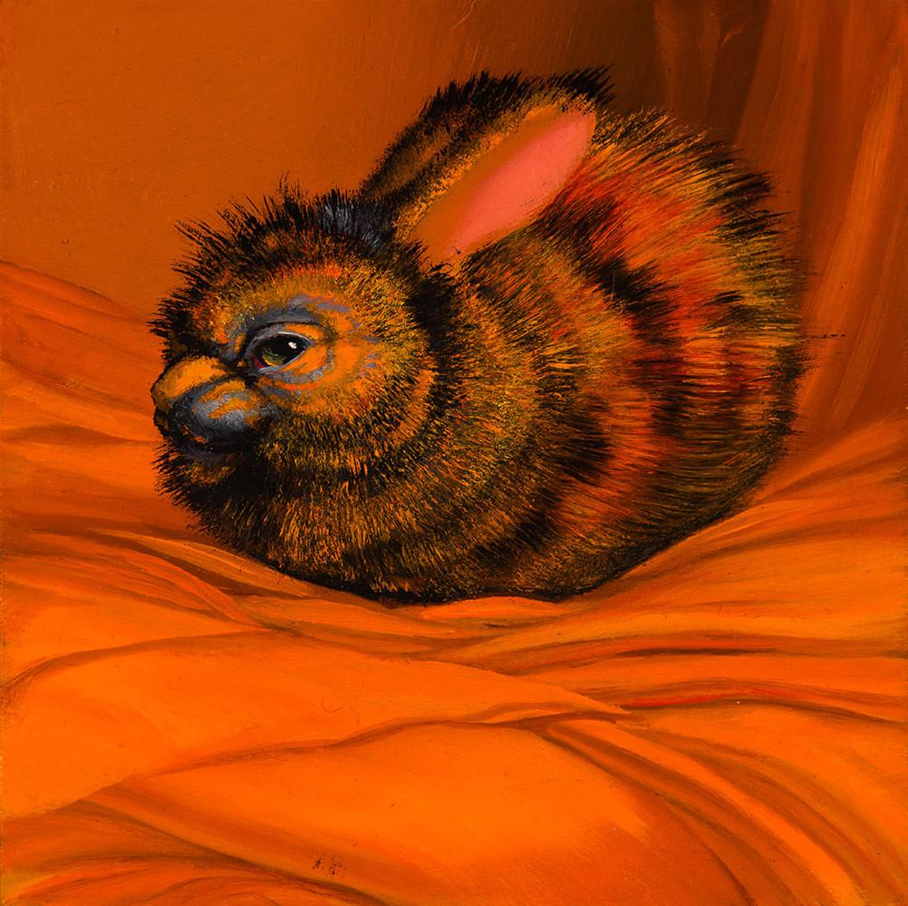 "Laurie Hogin - ""Affective Spectrum Disorder Bunny Orange"" - oil on board - 10.2 x 10.2cm (4""x4"")"
