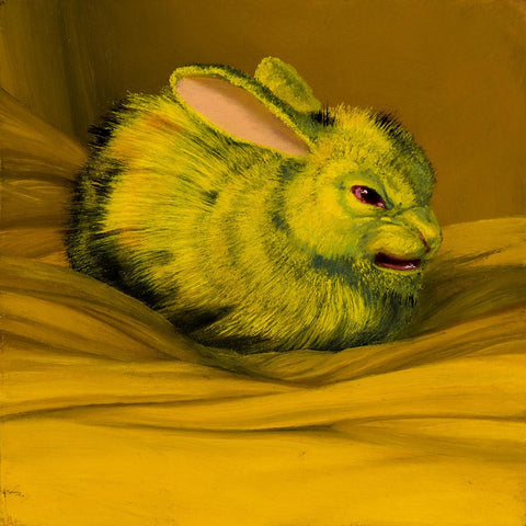 "Laurie Hogin - ""Affective Spectrum Disorder Bunny Yellow"" - oil on board - 10.2 x 10.2cm (4""x4"")"