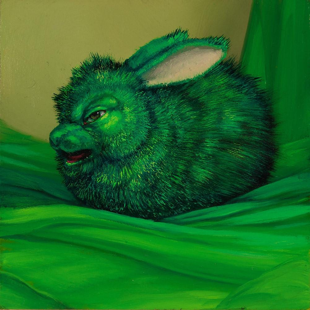 "Laurie Hogin - ""Affective Spectrum Disorder Bunny Green"" - oil on board - 10.2 x 10.2cm (4""x4"")"