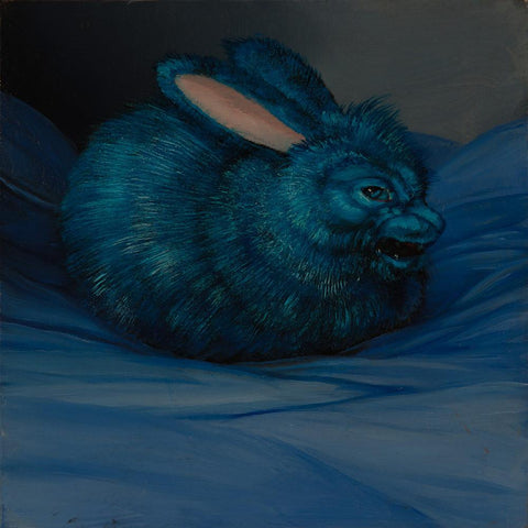 "Laurie Hogin - ""Affective Spectrum Disorder Bunny Blue"" - oil on board - 10.2 x 10.2cm (4""x4"")"
