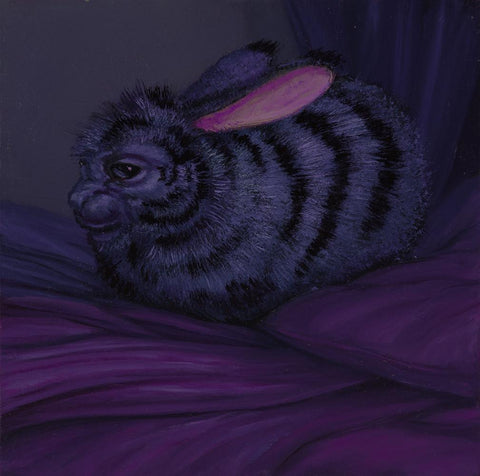 "Laurie Hogin - ""Affective Spectrum Disorder Bunny Violet"" - oil on board - 10.2 x 10.2cm (4""x4"")"