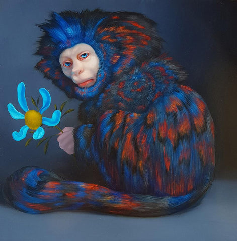 "Laurie Hogin - ""Obsession Compulsion (Blue Love Daisy)"" - oil on panel - 38.1 x 38.1cm (15"" x 15"")"