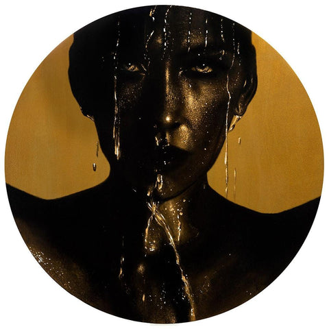 "Kit King & Oda - ""Lucid"" - resined oil painting on round birch panel with real gold metal pigment. 61 x 61cm (24""x24"")"