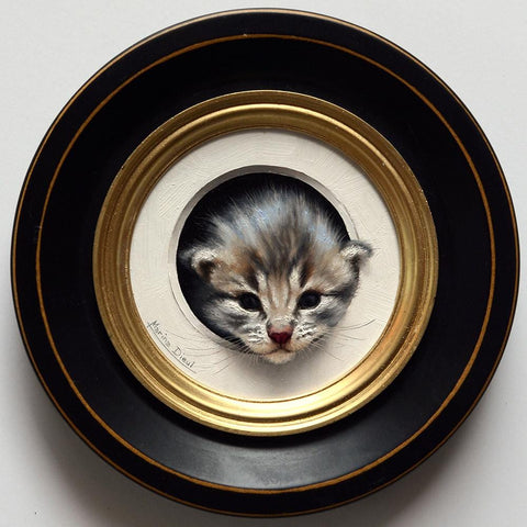 "Marina Dieul - ""Chaton 5"" - oil on panel - 10.2cm (4"") diameter"
