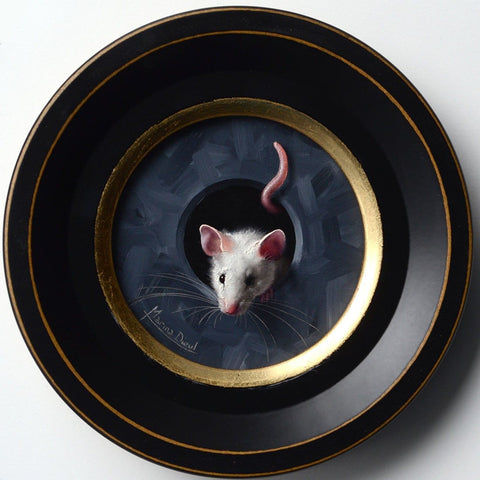 "Marina Dieul - ""Petite Souris"" - oil on panel - 10.2cm (4"") diameter"