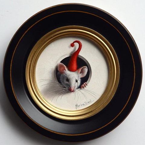 "Marina Dieul - 'Petite Souris 299' - oil on panel - 10.2cm diameter (4"" diameter)"
