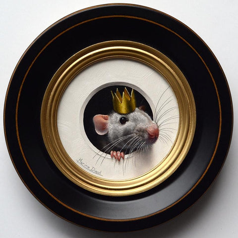 "Marina Dieul - 'Rat 2' - oil on panel - 10.2cm diameter (4"" diameter)"