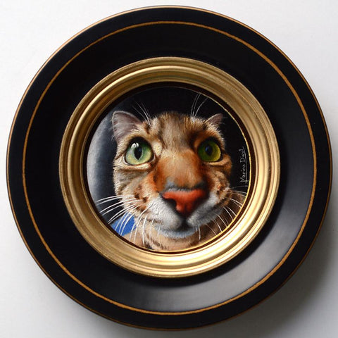 "Marina Dieul - 'Reflexion' - oil on panel - 10.2cm diameter (4"" diameter)"