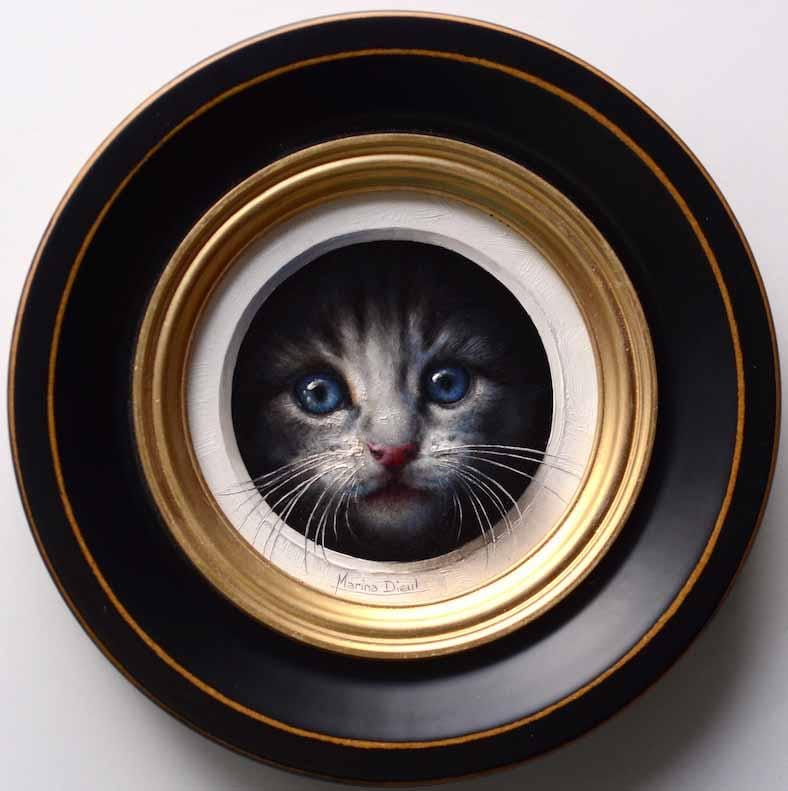 "Marina Dieul - 'Chaton 7' - oil on panel - 10.2cm diameter (4"" diameter)"