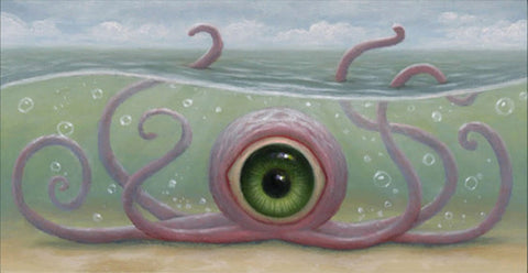 "Matt Dangler - ""Spytopus"" - oil on board - 3.8 x 7.6cm (1.5""x3"")"