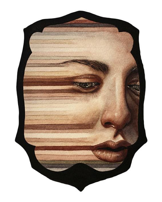 "Michelle Avery Konczyk - 'Never Again' - watercolor on paper, mounted to wood and sealed - 12.7 x 17.8cm (5""x7"")"